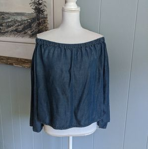 Cloth & Stone S Chambray Denim OffTheShoulder Top